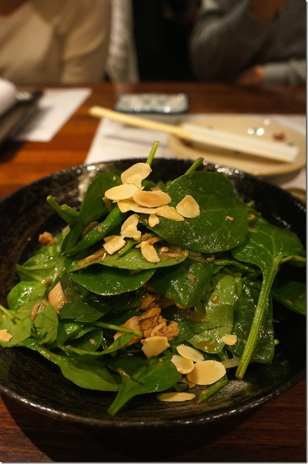 Spinach and almond salad $13.90