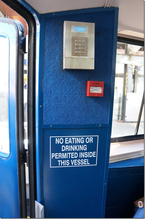 No eating or drinking permitted on the ferry