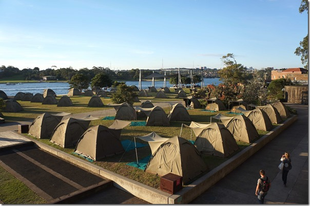 Campground at Northern Apron Park, Cockatoo Island