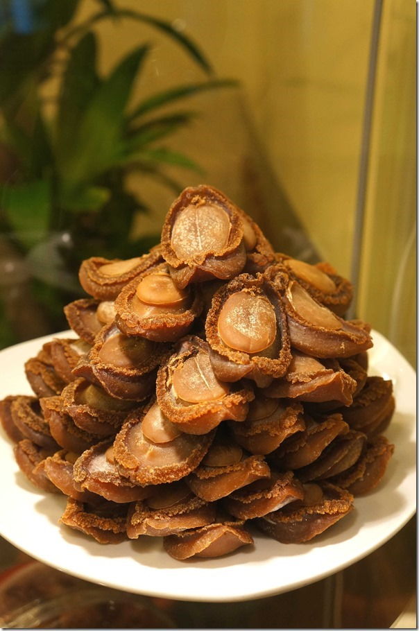 Dried abalone on display, Elegant Inn