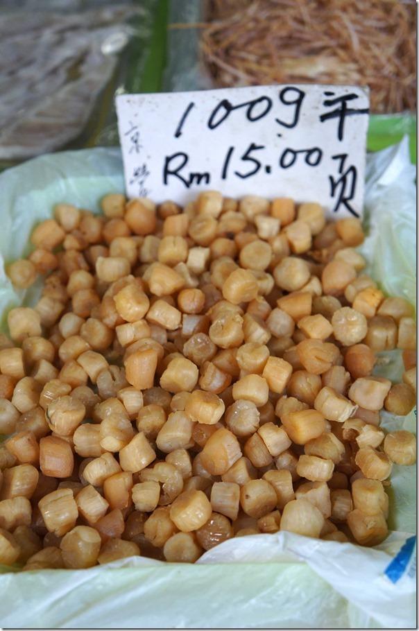Dried scallops RM15 or A$5.20 per 100gm