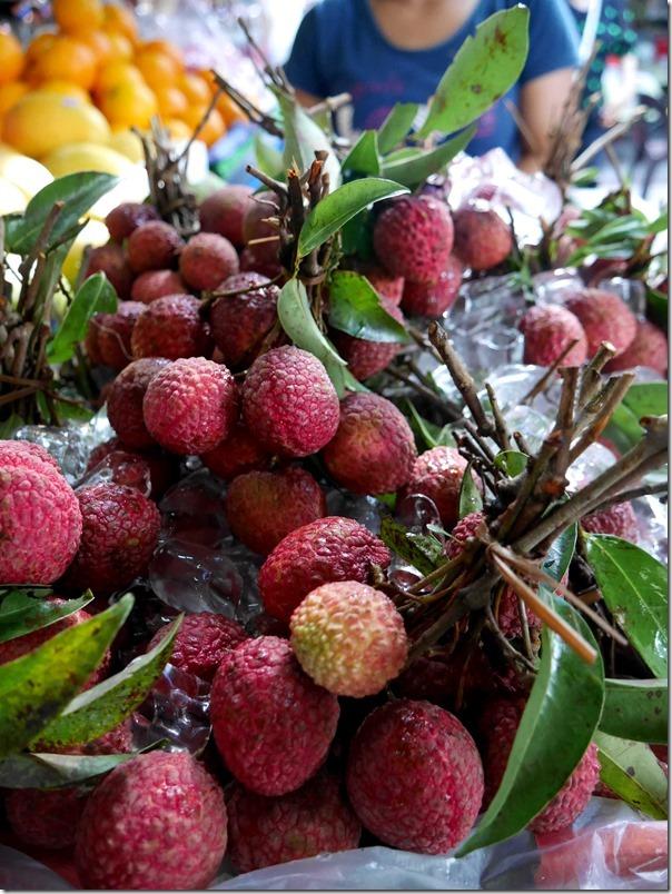 Fresh lychees bathing in ice
