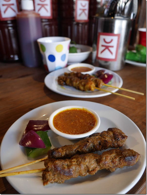 Beef and chicken satays, 2 sticks $5.80