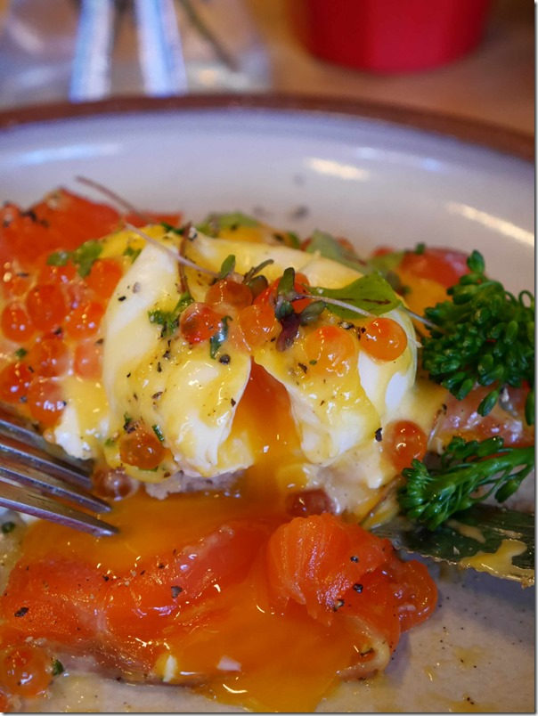 Egg porn ~ rich oozy egg yolk with cured king salmon and salmon roe