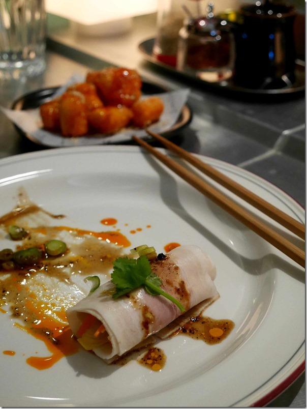 Cold rolled pork belly, white kimchi, Yuxiang sauce