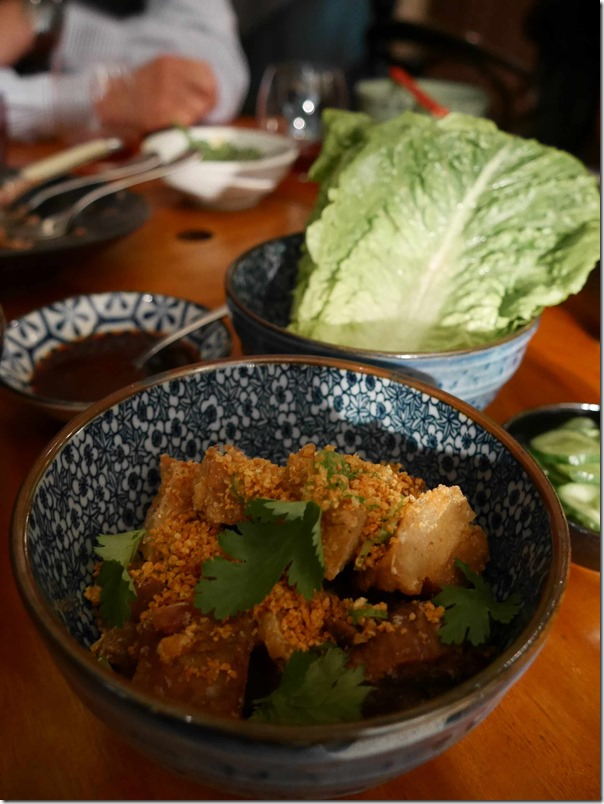 Crispy pork hock with black vinegar cucumber and baby cos lettuce $26