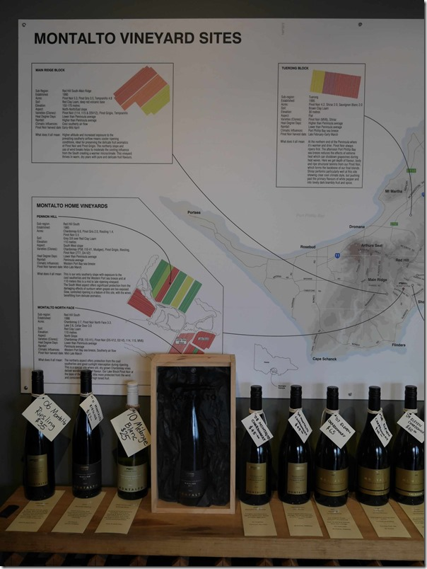 Range of Montalto wines and vineyard sites