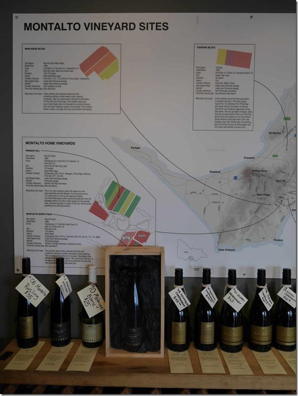 Range of Montalto wines and vineyard sites