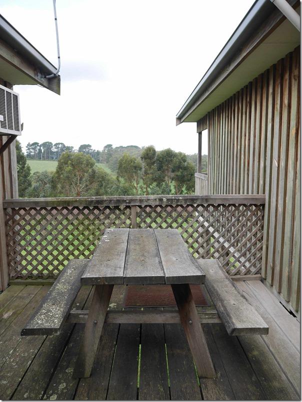 Wooden dining table and bench at Ten Minutes By Tractor 1333 Mornington Flinders road Main Ridge, Mornington Peninsula, Victoria