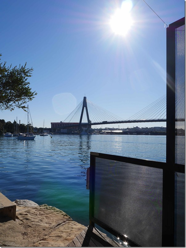 A view of Backwattle Bay and the ANZAC bridge