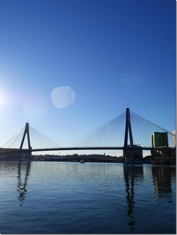 A view of Blackwattle Bay and the ANZAC bridge