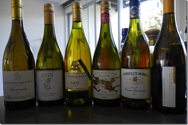 2011 Bannockburn Chardonnay, 2012 EVOI Reserve Chardonnay 2001 Bannockburn SRH Chardonnay 2006 Devil's Lair Chardonnay 2009 Tyrrell's Vat 47 Chardonnay, 2008 Toolangi Reserve Chardonnay