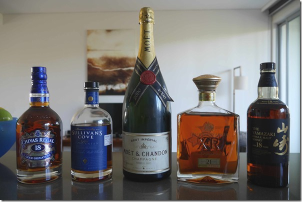 Chivas Regal Aged 18 years, Sullivans Cove Single Cask French Oak, 2000 Moet & Chandon, Johnny Walker XR Aged 21 years, Suntory Yamazaki Aged 18 years