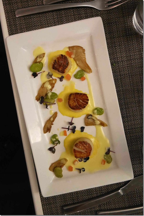 Pan seared sea scallops with sweet corn, oyster mushrooms, broad bean and butter sauce $22