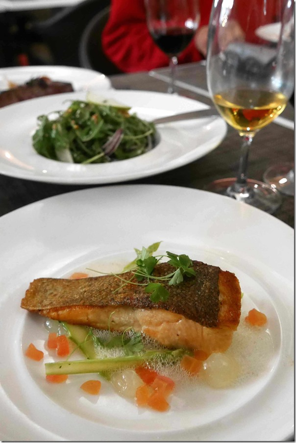 Tasmanian ocean trout with lemon gel, sautéed samphire, fennel juice and steamed chat potatoes $35
