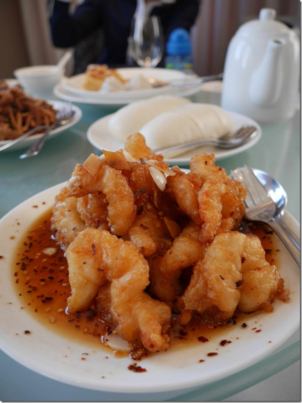 Kung Po chilli sauce king prawns in batter $32.80