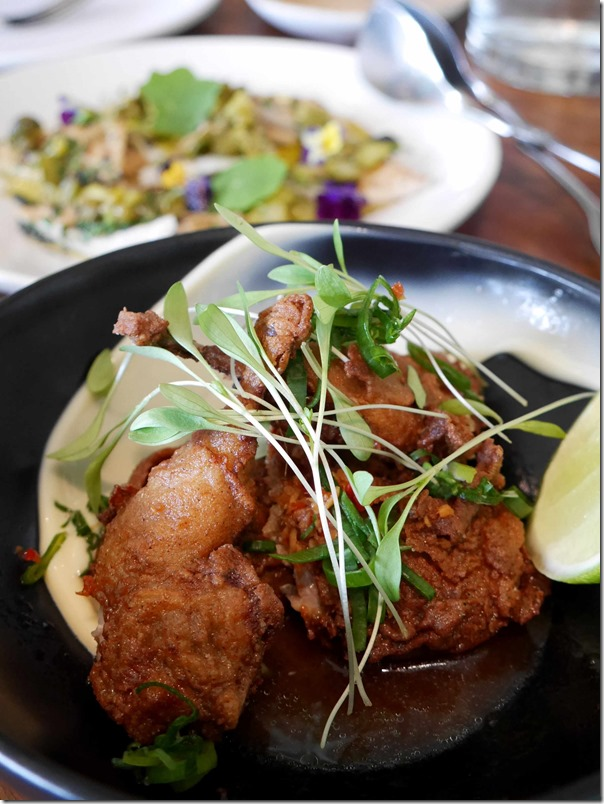 Crispy fried quail, lime, shallot, ginger $22