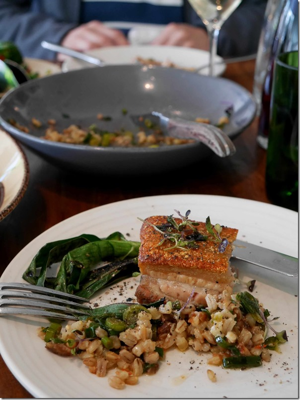 My half slab of roast pork belly with toasted barley and shallot dressing