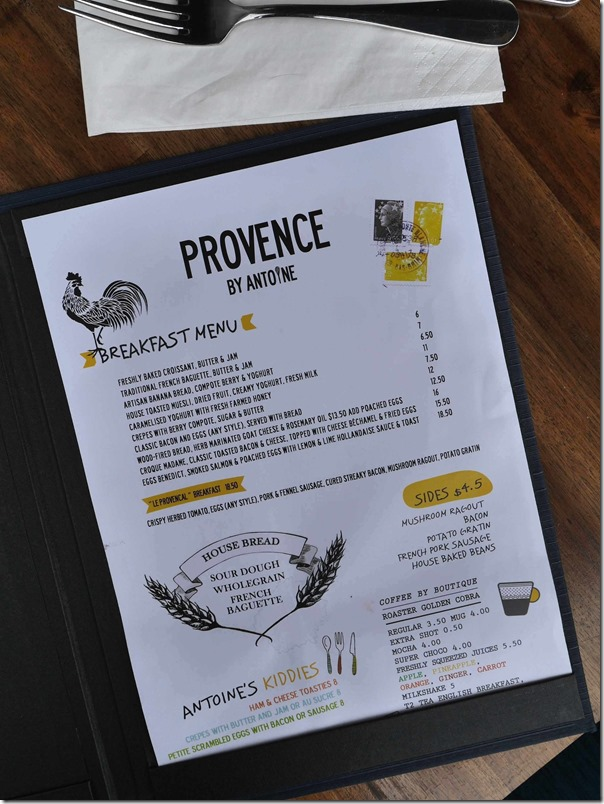 Breakfast menu at PROVENCE By Antoine