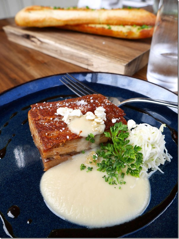 Confit pork belly with apple & sweet onion puree, Granny Smith & celeriac remoulade $19