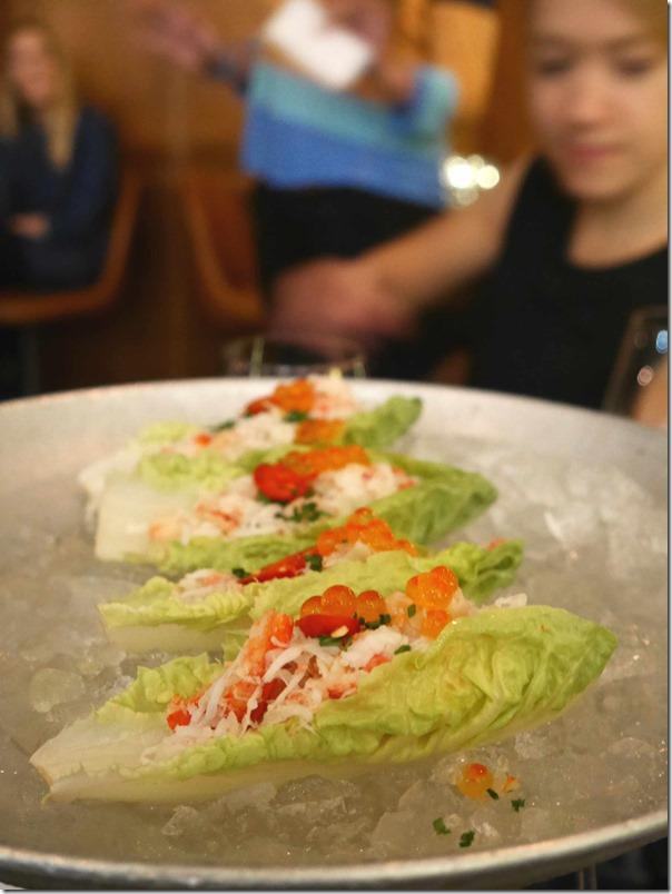 Crab & Lettuce Tacos, chardonnay vinaigrette, salmon caviar