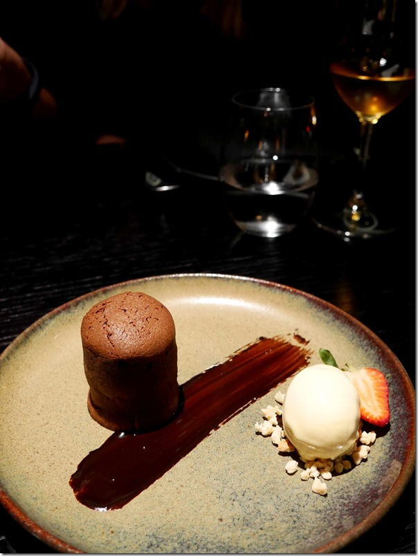 Chocolate Peanut Butter Fondant and vanilla ice-cream