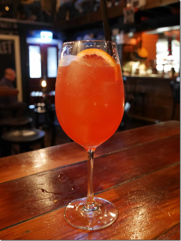 Blood orange & Campari spritz, $15