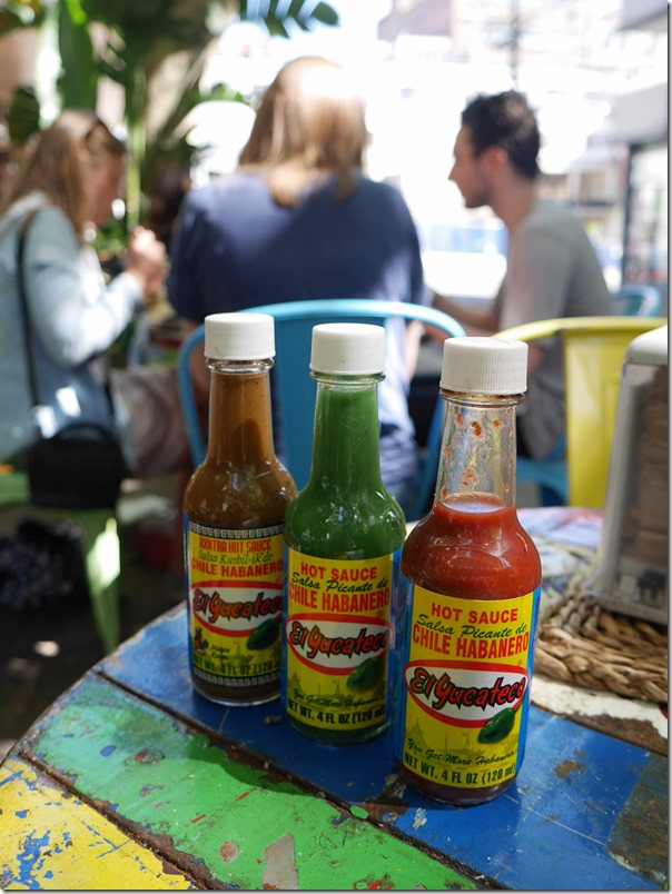 Three types of El Yucateco hot sauces