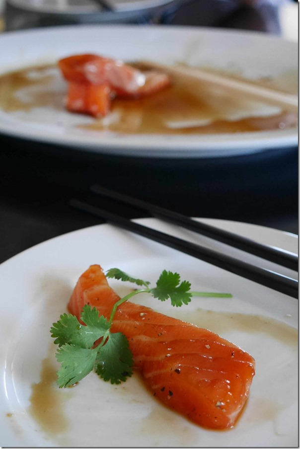 Tasmanian salmon with honey, light soy and mirin