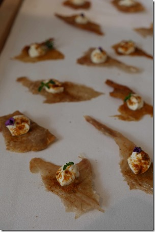 Crispy chicken skin, salted lemon labneh, wild native thyme