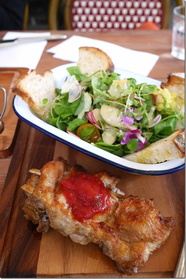 Roasted young chicken with chilli tomato relish, vine tomato & watercress salad $19