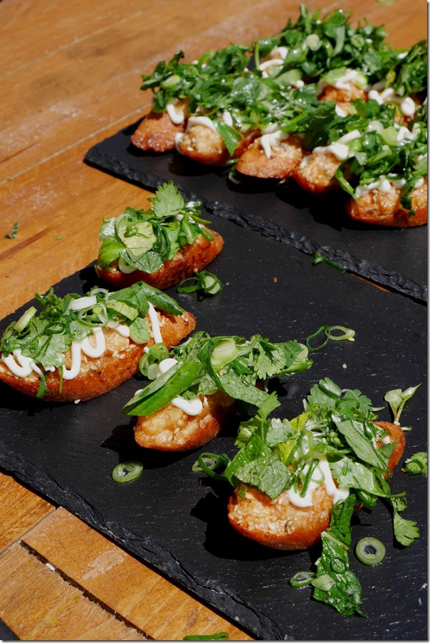 Dan Hong's prawn toast with yuzu mayonnaise and herbs