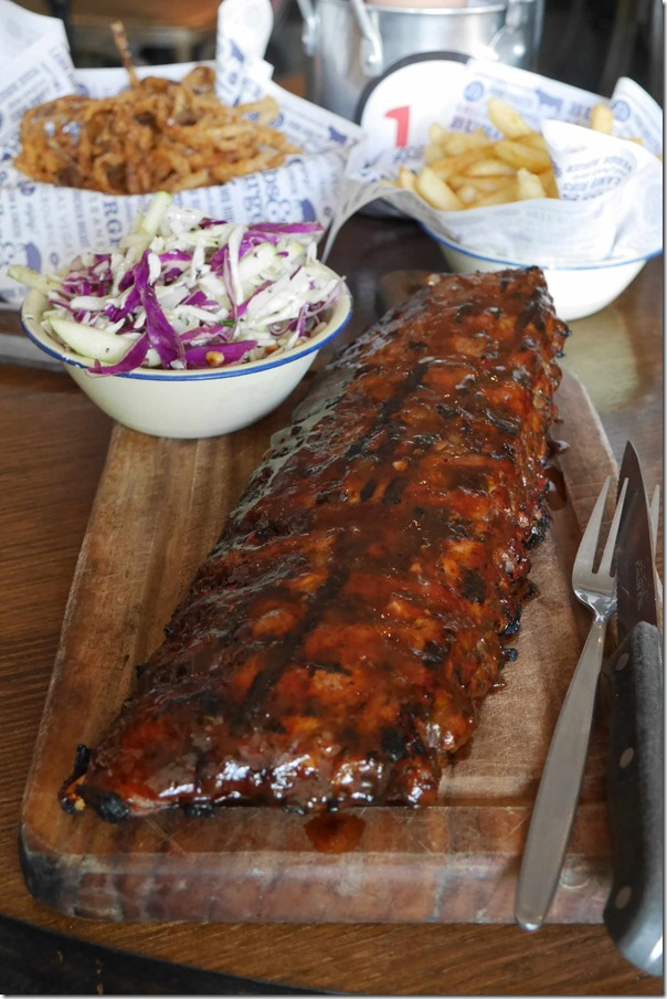 Pork ribs served with chips and salad $29