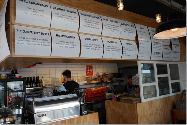 Menu and serving counter, The Burger Shed, Mosman