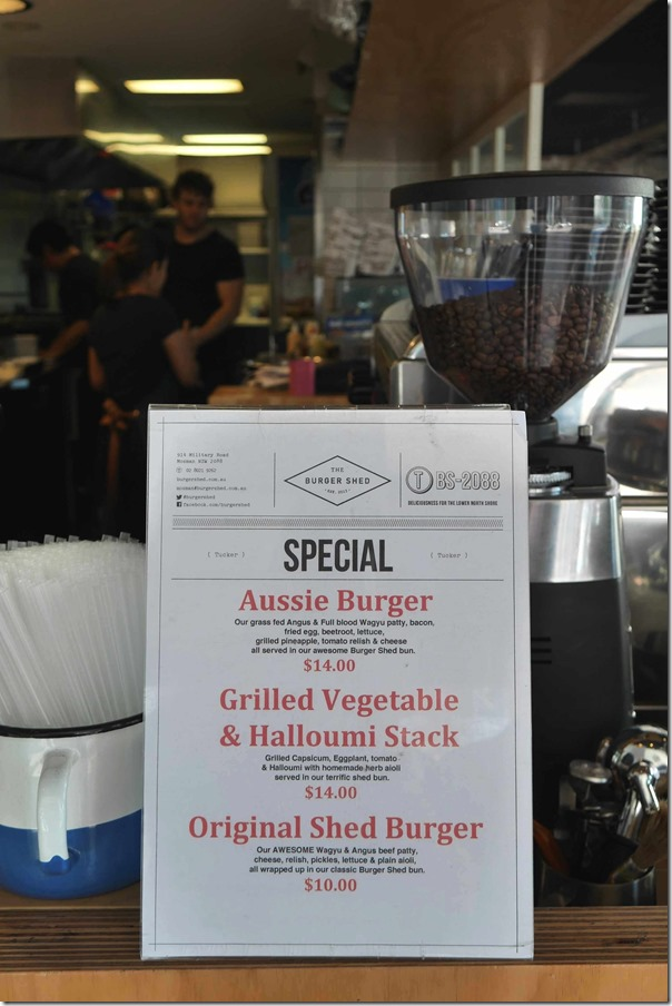 Specials ~ The Burger Shed, Mosman