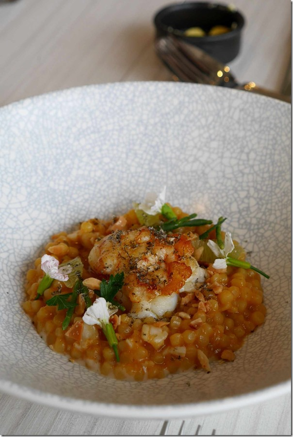 Roasted bug tails, lime, fregula and spiced white carrot $24