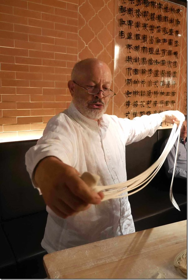 Celebrity chef Janni Kyritsis (ex-MG Garage) attempting hand-made noodles
