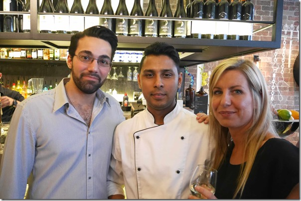 Gary Manoukin, executive chef Russel Rasheduzzaman and Sasha Biddle