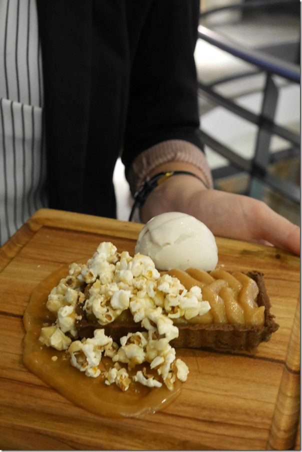 Salted caramel tart, popcorn and banana sorbet