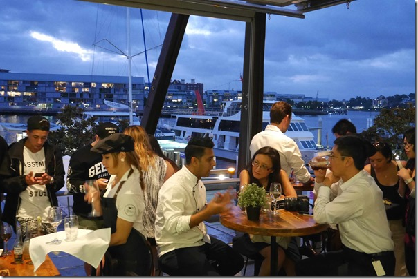 Dining with a view of King Street Wharf, Sydney