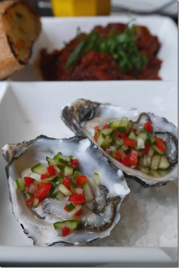 Sydney rock oyster with cucumber salsa