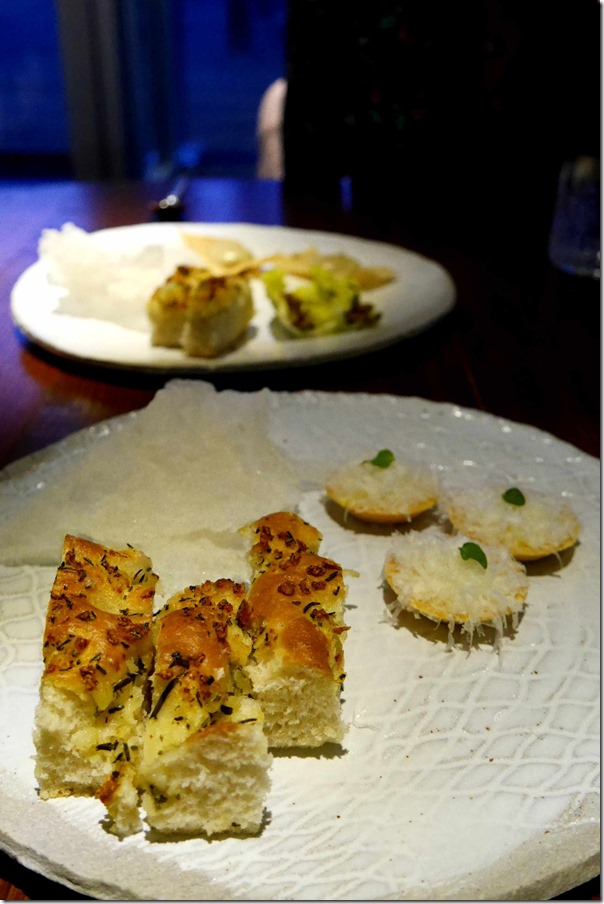 Potato & rosemary focaccia, cheese tartlets, rice chips with salt and vinegar