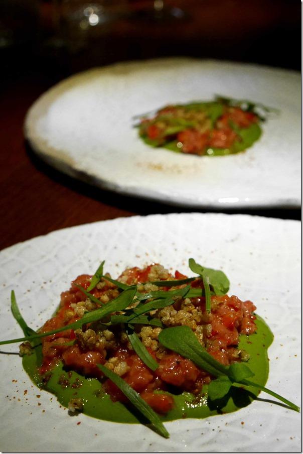 Veal tartare, tarragon emulsion, roasted capsicum