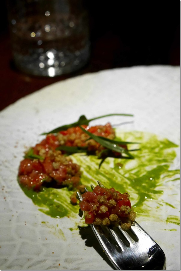 Crunchy bits of buckweat with veal tartare, roasted capsicum and tarragon emulsion