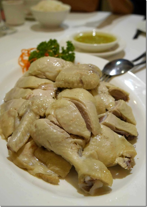 Steamed chicken with ginger and shallots $16