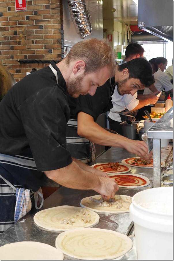 Chefs preparing pizza, Little Creatures Fremantle Brewery