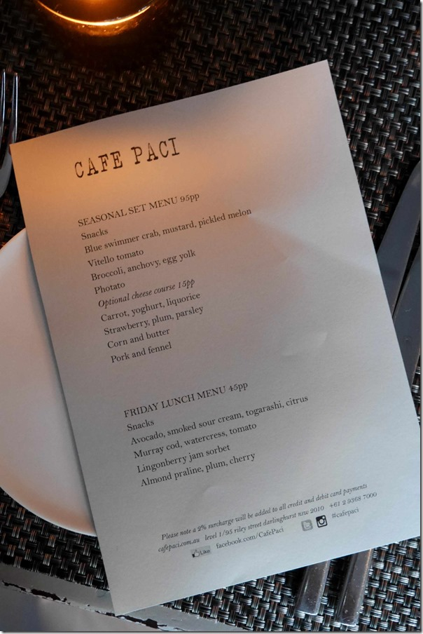 The menu at Cafe Paci, Darlinghurst
