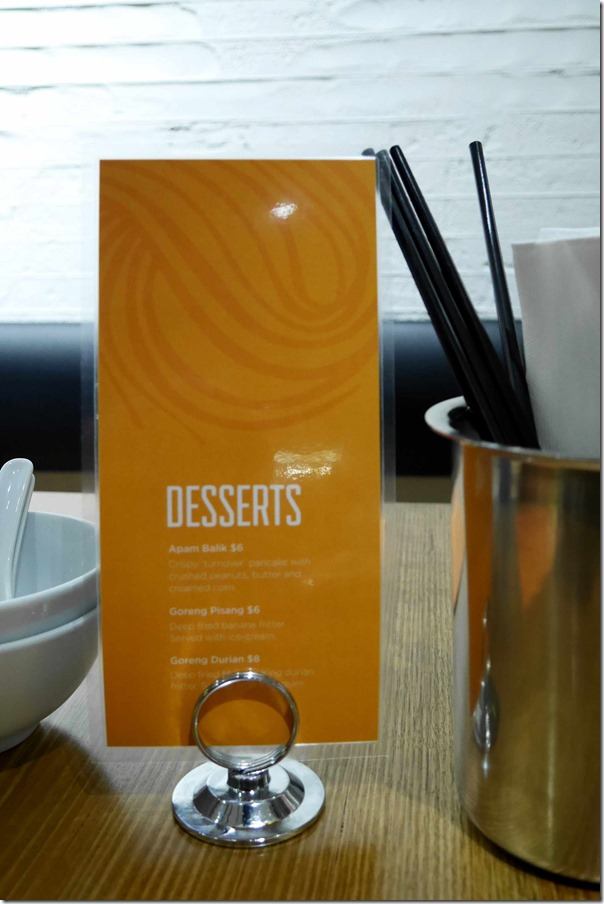 Dessert menu at Hawker, Sydney