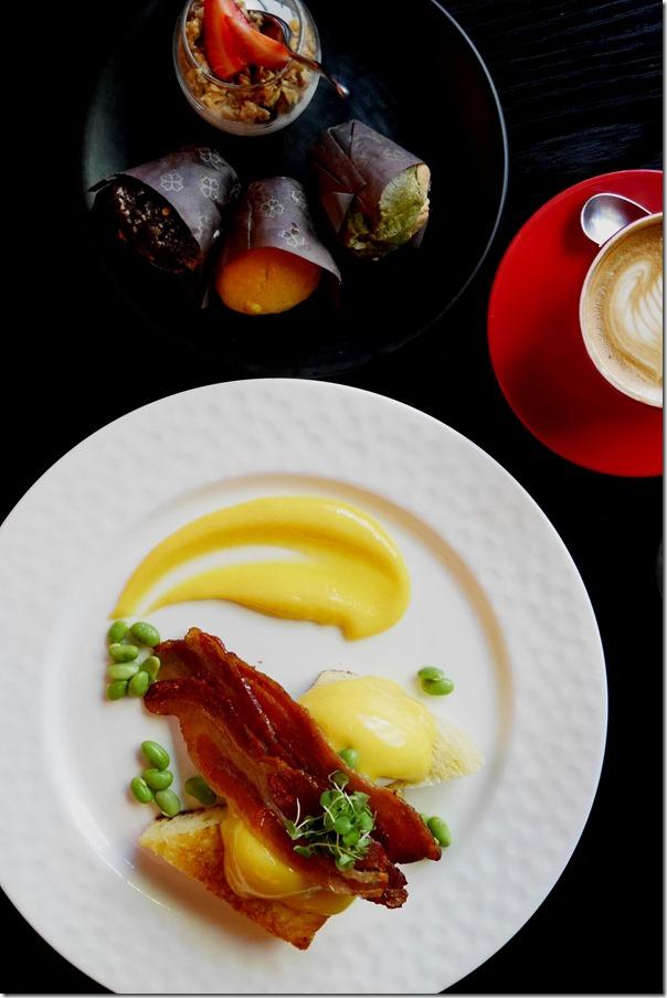 Eggs Benedict, breakfast muffins, cereal & yoghurt, coffee