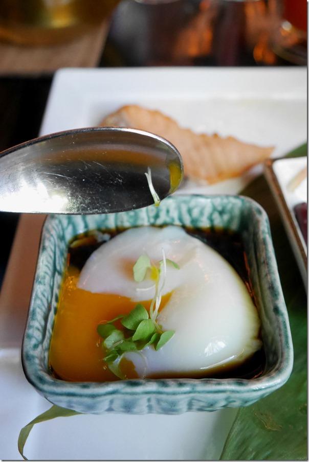 "Onsen egg in ""Choushoku"" breakfast"